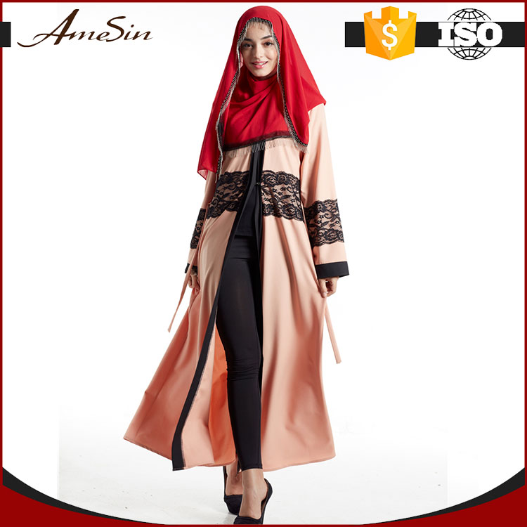 AMESIN Low Cost Double Layer Breathable High Quality long fitted muslim abaya