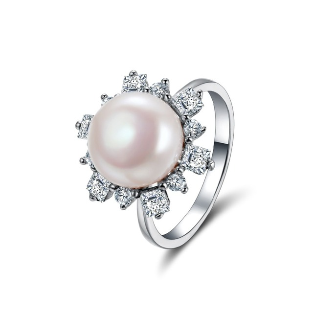 Factory supply 18K white gold plated women zircon pearl engagement ring diamond jewelry