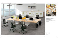 Gree series newest custom made products green material good price open desking 6 seater office workstation
