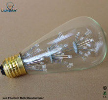 2200K 2700K Warm Lighting Starry ST64 ST58 E27 4W 6W 8W Carbon Led Filament Bulb, 40W/60W Antique Decorative Edison Lamp