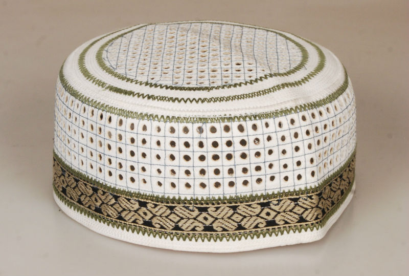 Muslim Prayer Cap ACG0055 - Check Design Wooden Rim