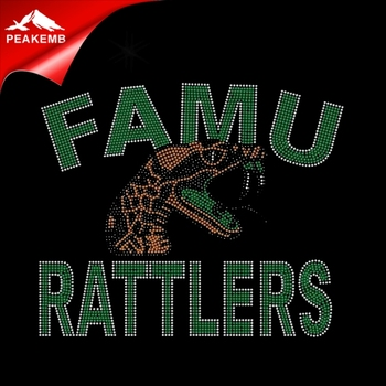 wholesale rhinestone appliques FAMU RAITLERS Snake heat transfer designs for university
