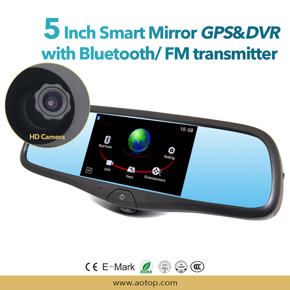new arrival Bluetooth Handsfree Car Kit Mirror with MP5 Player and FM Transmiter