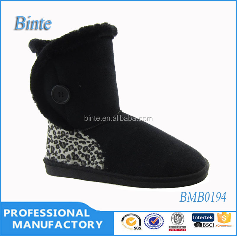 botas de mujer negro botas zapatos de mujer winter microfiber snow boots with side button leopard on the back