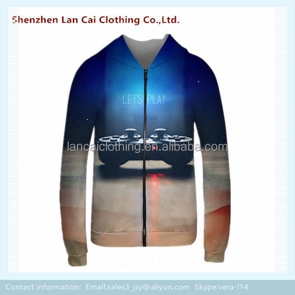 custom full 3D printing sublimation print sweatshirts long sleeve hoody
