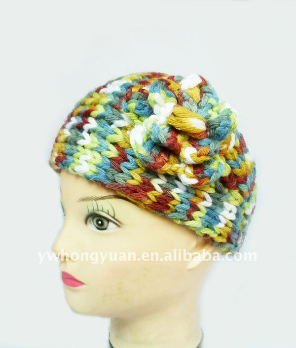 Bright multi color flower ear warmer muff knit head wrap hat headband crochet