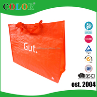 Red Color printing pp woven with lamination material custom made foldable tote shopping bag