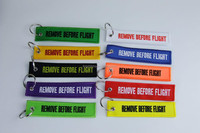 Custom embroidery fabric keychain,remove before flight key chain