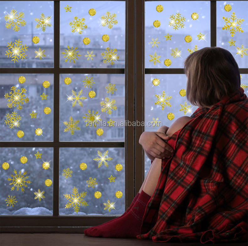 Merry Christmas Shining Golden Snowflake Wall Vinyl Glitter Window Decoration Sticker