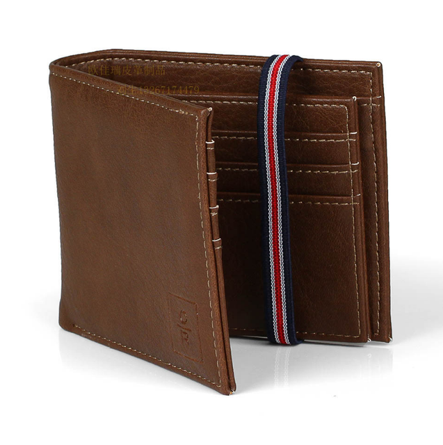 Men's Card Case pu Men's Wallet With Elastic Band Closed Wallet