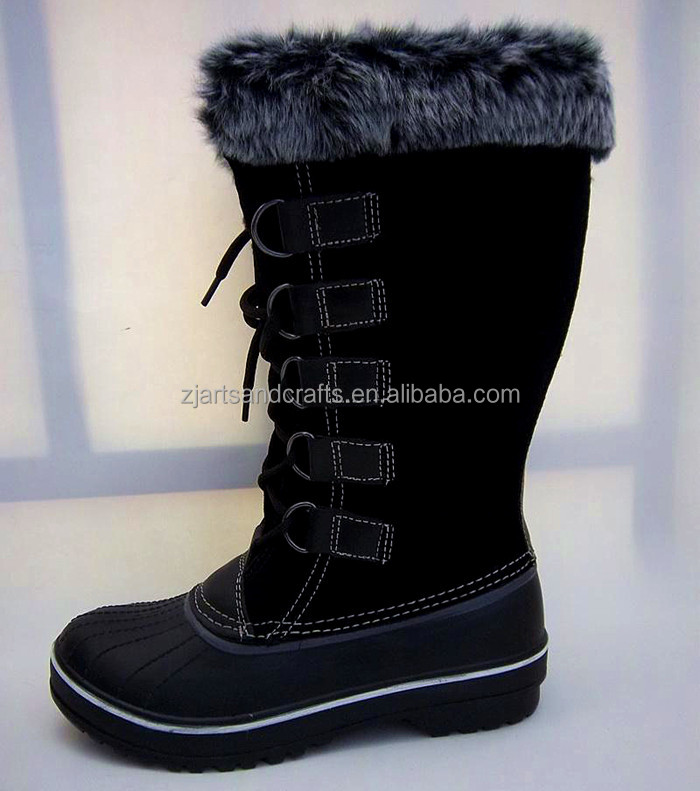 Wholesale warmful pu and nature rubber winter snow women boot