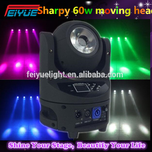 Newest Designed Endless Rotating 16CH Mini Sharpy Beam 60W LED Moving Head Light