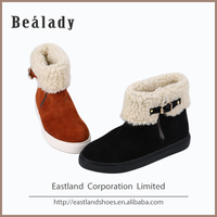(ESW-1616) Lady leather shoes cow suede thick sole and zipper comfortable amusing warm snow boot with fur
