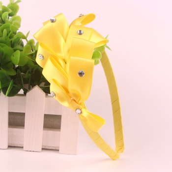 hair bow with elastic band yellow bow headband