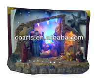 "10"" book-shape nativity set & big coconut tree with LED lights"