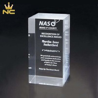 Wholesale Cheap Custom 3D Laser Engraved Crystal Block For Glass Trophy Award Gifts