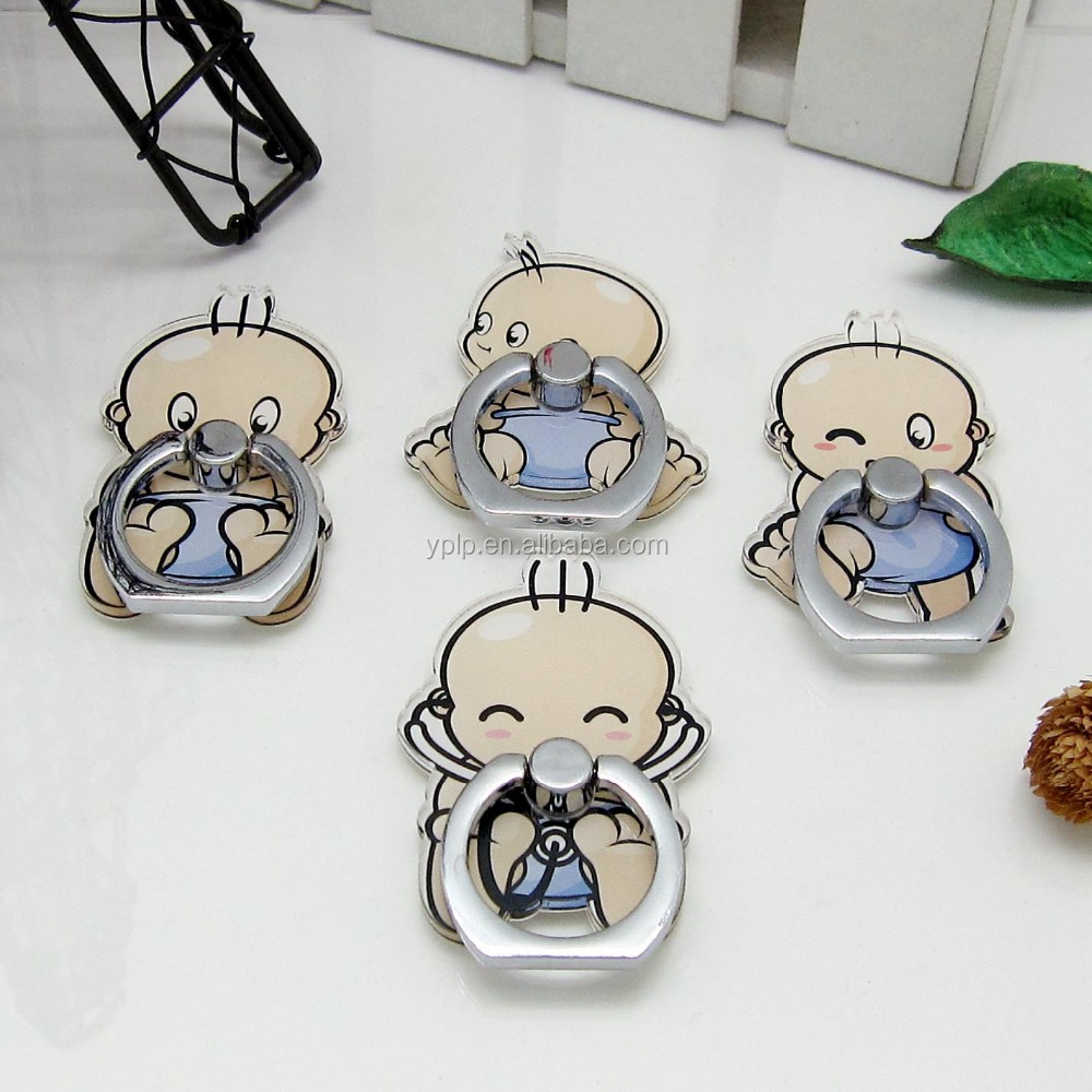 2016 Hot!!Cartoon Shaped Sticky Finger Ring Acrylic Mobile Phone Holder 360 Degree Rotation Stand