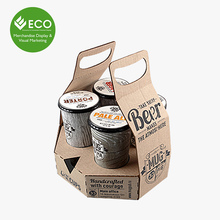 Custom Printed Folding Cardboard 4 Pack Wine Bottle Carrier, Wine Packaging