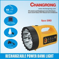 solar rechargeable power bank flashlight with USB and led bulb