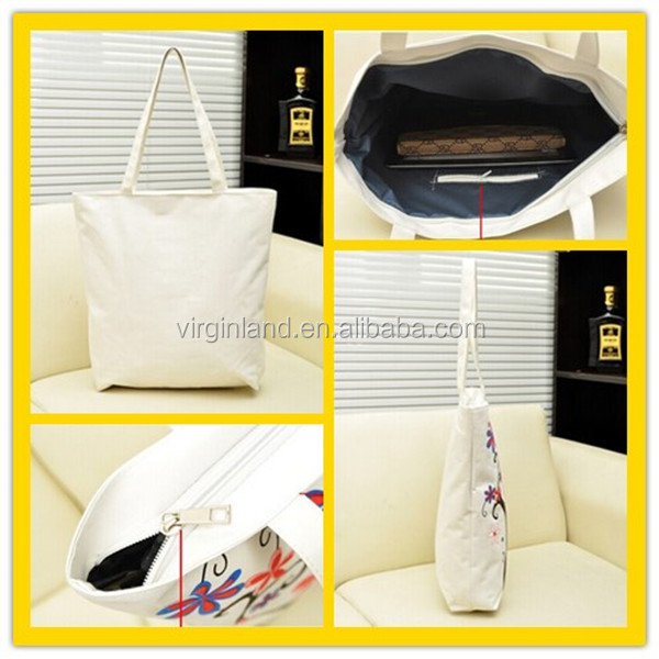 High Quality Recyclable Fashion Durable Plain White Cheap Blank Canvas Wholesale Tote Bags with Two Shoulder Straps Promotional