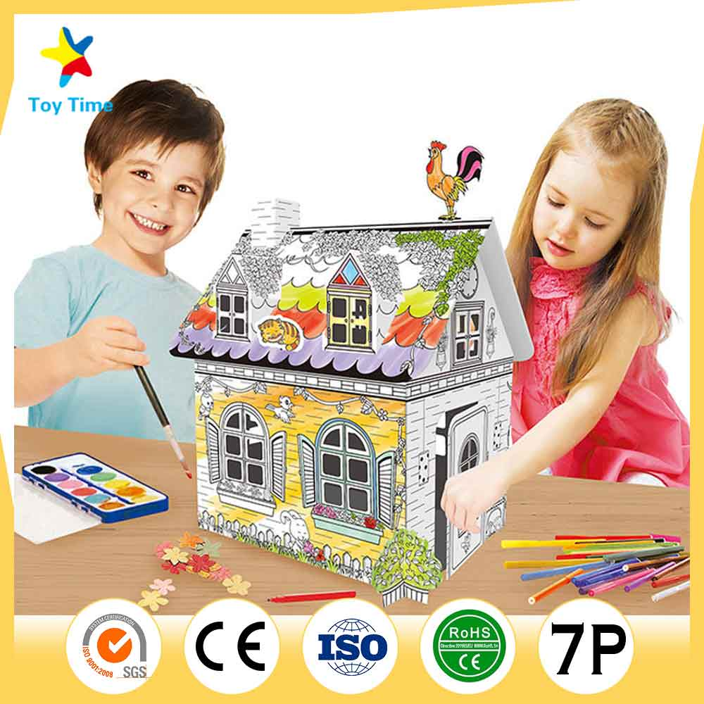 Cute Mini House Puzzle Home Model 3D DIY Toy for Kids