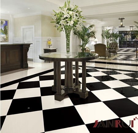 600x600mm White and Black Floor Tile