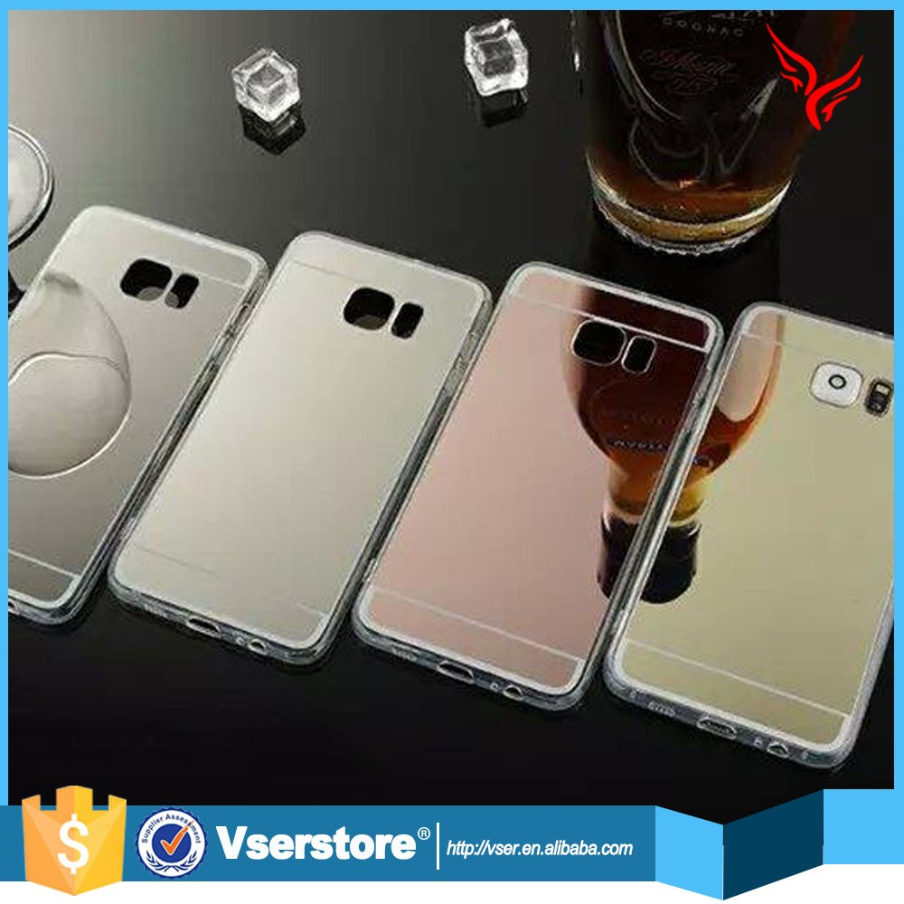 Wholesale phone accessories plating tpu mirror cell phone case for samsung galaxy s6