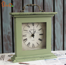Vintage Square home Decoration Wooden Table Clock