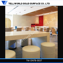 TW corian made modern beauty dining table KFC restaurant furniture for sale