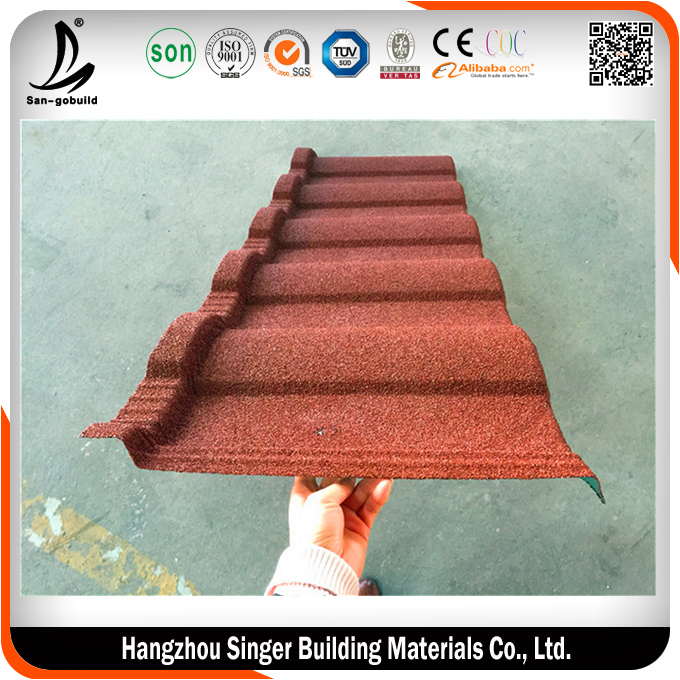 Metal roof tile stone coated rainbow tile, construction material roofing tile
