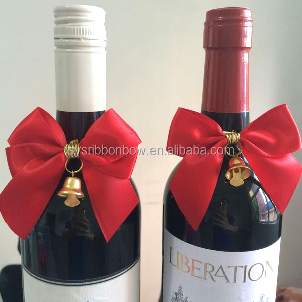 pre made ribbon bow Christmas wine bottle ribbon bows