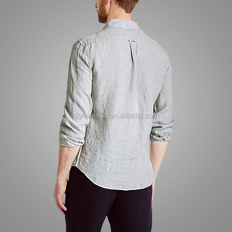 Manxun Simple Style Long Sleeves Tops Men Pure Linen Easy Care Comfortable Shirt