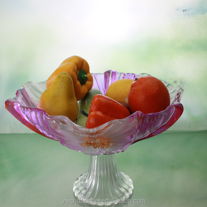 Elegent Colored High Quality Flower Shape Glass Fruit Plate
