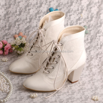 Lace-up Winter Wedding Boots Bridal Chunky Heel