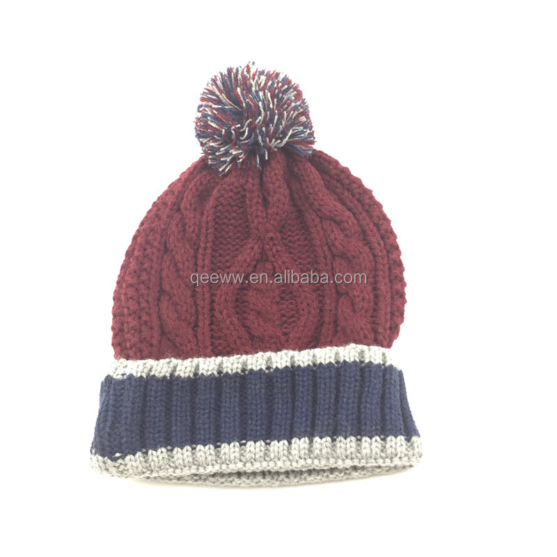 Fachion Beanie Promotional Mens Gift Use knitted hat Wholesale design your own pom pom winter hat