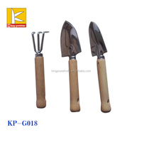 3 pcs garden tools spade &shovel rake with wooden handle