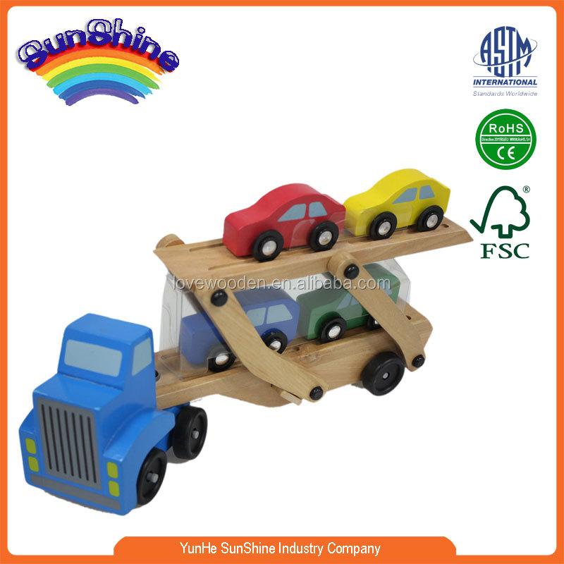 2016 New Hot Sell Wooden Train EN71 ASTM Transport Truck With Four Small Cars