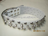 2014 Leather dog collar pet products spike and rivet studded leather dog collar