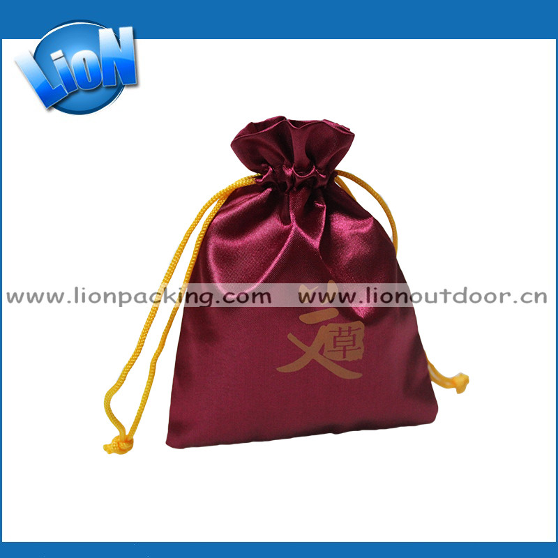 Promotion Custom Lace Ribbon Satin Drawstring Gift Bag