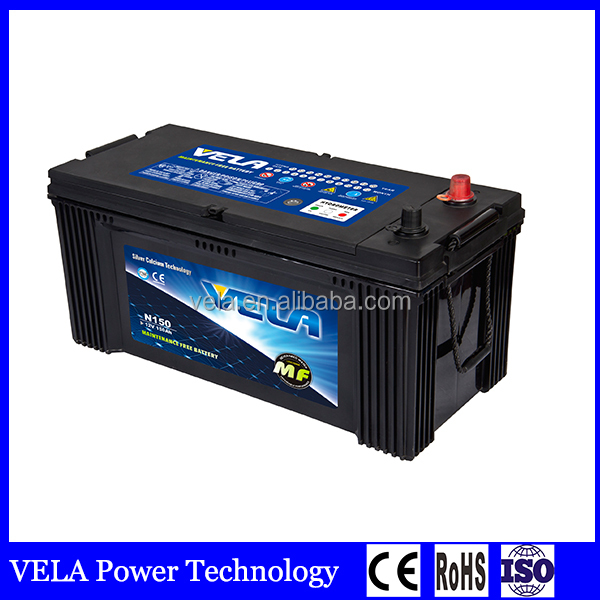 Automobile starting power truck battery <strong>n150</strong> 12v150ah for Japanese and korean vehicles