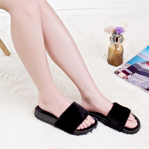 New products 2017 new design women shoes Wholesale plush fur <strong>slippers</strong>