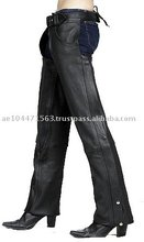 HMB-332A-2 WOMEN LEATHER CHAPS THIGH GATHERED STYLE CHAP BLACK