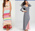 2014 new spring candy stripe long maxi multicolor bodycon floor length ladies dress wholesale OEM China Design Cheap