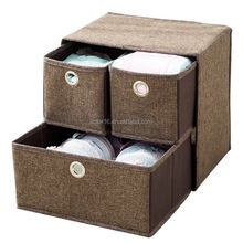 Professional Home Office non woven Double two drawer decorative collapsible storage cubes