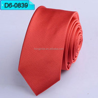Watermelon Red Micro Fiber neckties pure color polyester woven ties D60839