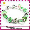 Silver Clasp Chain European Fashion Bracelet, with DIY Green Crystal Glass Beads,merry christmas gift!!