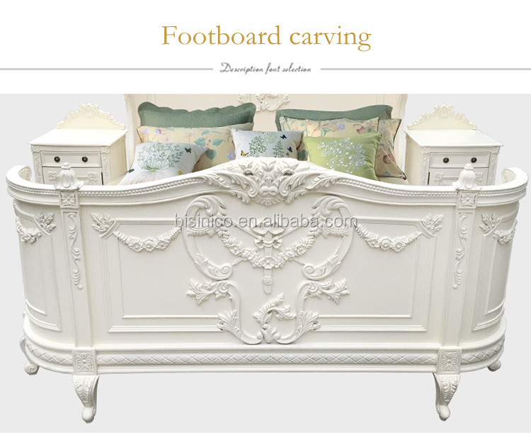Gorgeous Vivid Carving Solid Wood Princess Bed/ French Provincial Vintage White Painted King Size Wedding Bed/ Queen's Bedroom