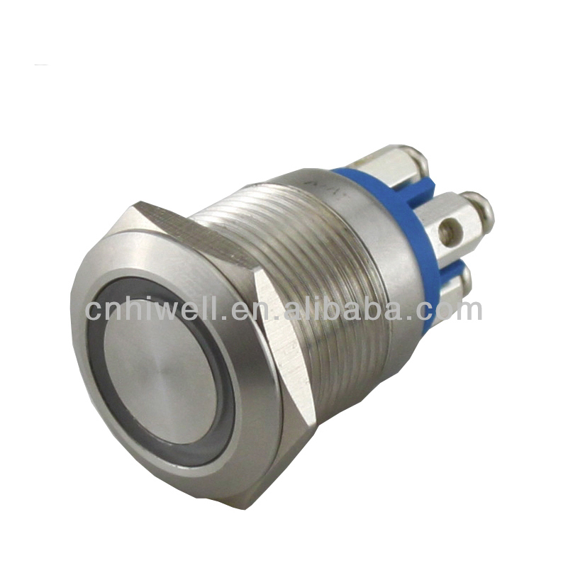 Promotional latching type anti vandal led push button switch with screw terminal