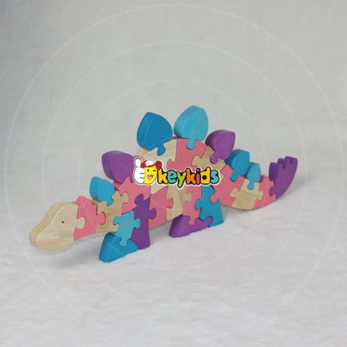 Wholesale baby wooden dinosaur puzzle funny kids wooden dinosaur puzzle educational children wooden dinosaur puzzle W14I033