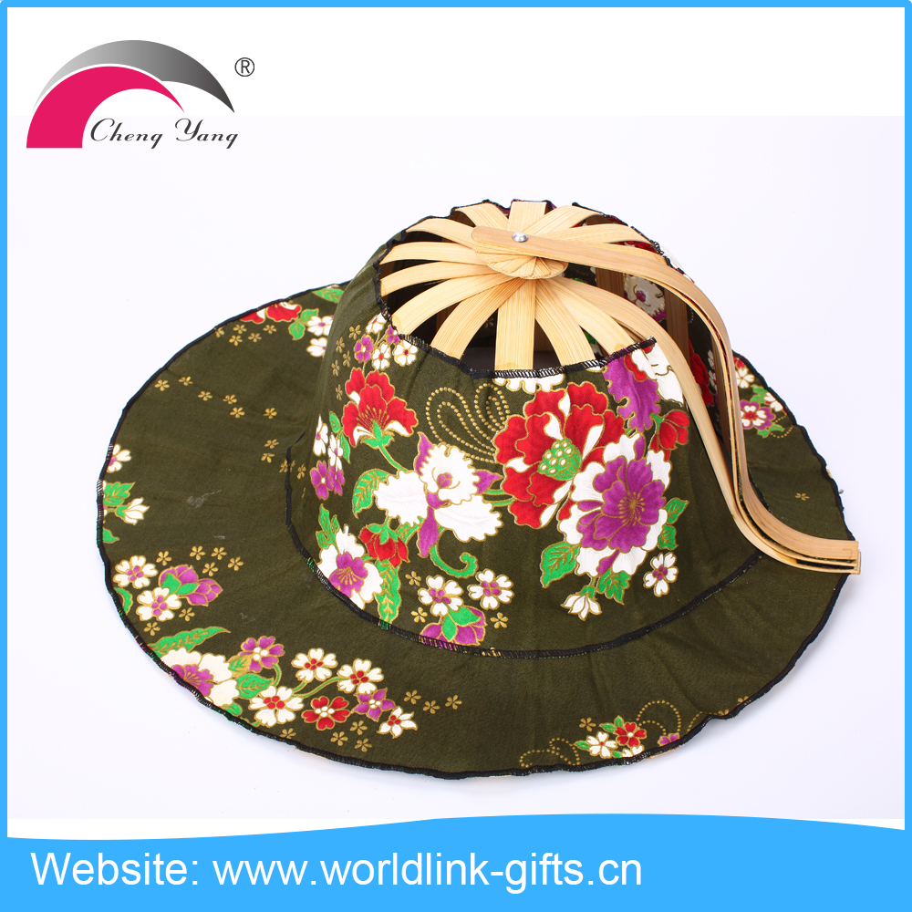 New arrival folding bamboo cotton fan hat